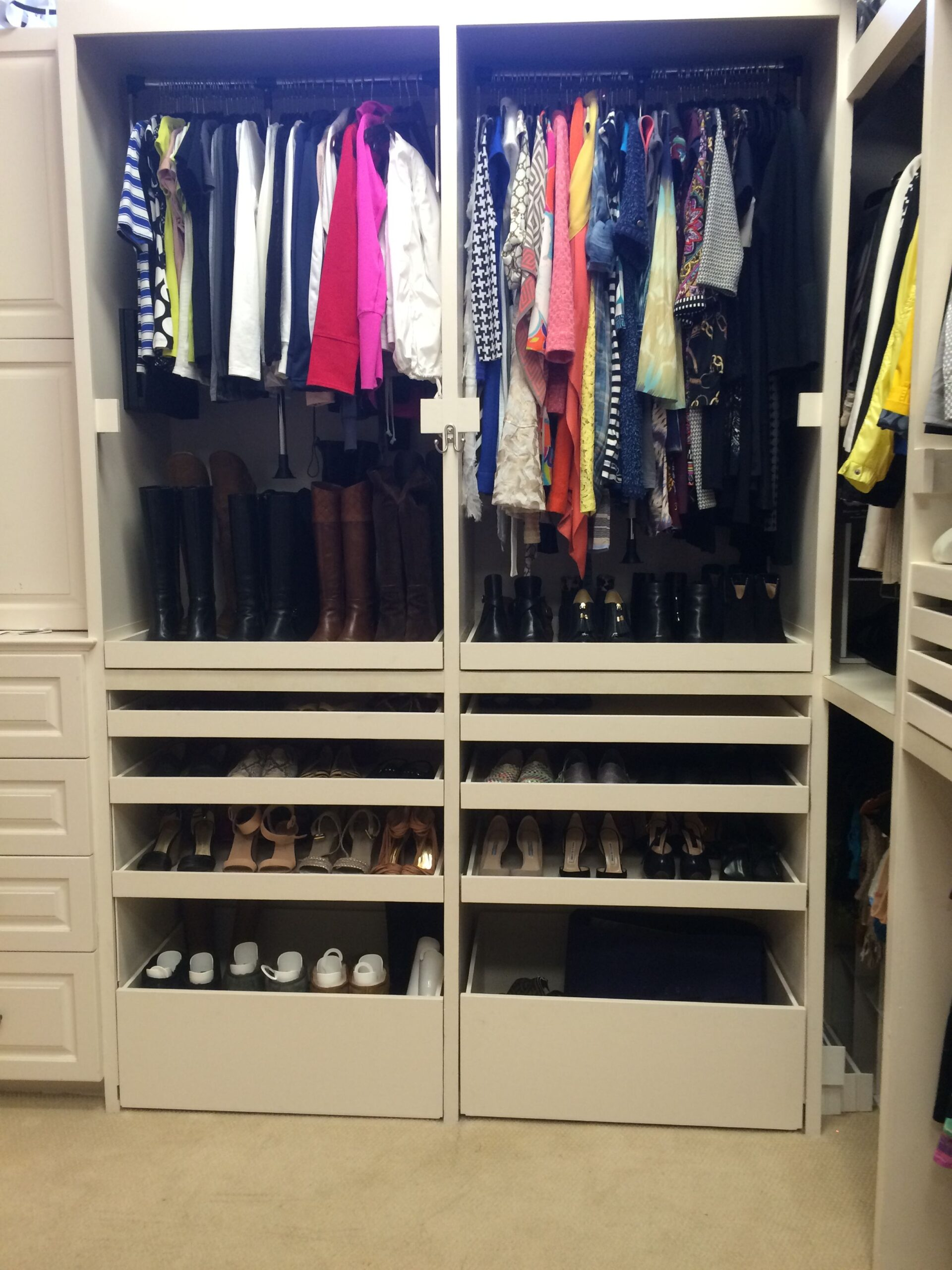 Organized closet with open drawers